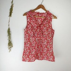 Boden Red Floral Print Surplice Neckline Blouse